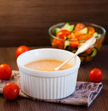 Pumpkin Soup. With Vegetable  salad Stock Photo