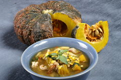 Pumpkin soup. Thai style pumpkin and herb soup Royalty Free Stock Photography
