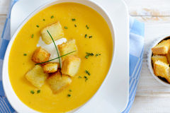 Pumpkin soup from above Royalty Free Stock Photo