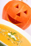 Pumpkin Soup And Jack-o -lantern Royalty Free Stock Image