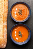 Pumpkin soup with baguette Royalty Free Stock Photos