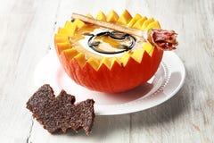 Pumpkin Soup with Bat Toast Crouton Stock Photos