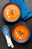 Pumpkin soup in blue bowls. Royalty Free Stock Photo