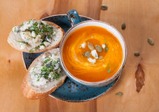 Pumpkin soup with blue cheese Stock Image