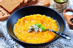 Pumpkin soup with blue cheese and olive oil Royalty Free Stock Image