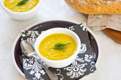 Pumpkin soup in a bowl Royalty Free Stock Photos