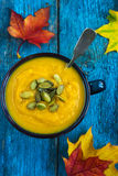 Pumpkin soup on a bowl Royalty Free Stock Photos