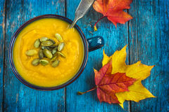 Pumpkin soup on a bowl Stock Image