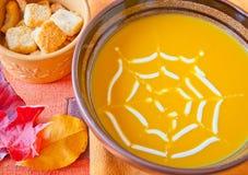 Pumpkin soup in a bowl. Royalty Free Stock Photos
