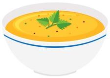 Pumpkin soup in bowl. Illustration Stock Photos