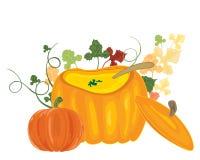 Pumpkin soup bowl Stock Photos