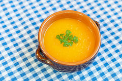 Pumpkin soup in a bowl. With pulp Stock Photos
