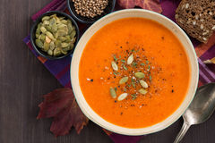 Pumpkin soup in bowl, top view Royalty Free Stock Photography