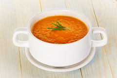 Pumpkin soup in a bowl Stock Images