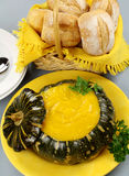 Pumpkin Soup With Bread Rolls Royalty Free Stock Photo