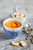 Pumpkin soup in ceramic bowls Royalty Free Stock Photos