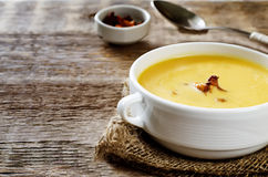 Pumpkin soup with chanterelles Royalty Free Stock Photo