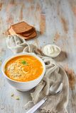 Pumpkin soup with cheese an cream royalty free stock images