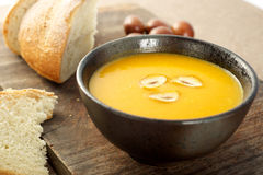 Pumpkin soup with chestnuts Royalty Free Stock Images