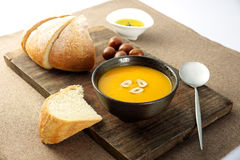 Pumpkin soup with chestnuts Stock Photo