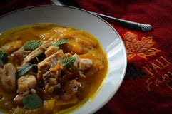 Pumpkin Soup with Chicken and Ginger Braised Leeks Stock Photography