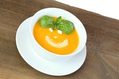 Pumpkin soup for a child Royalty Free Stock Photo