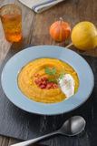 Pumpkin soup with chorizo Stock Image
