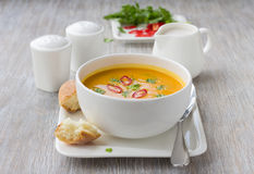 Pumpkin soup with coconut milk Royalty Free Stock Photos