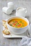 Pumpkin soup with coconut milk Stock Photos