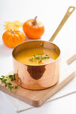 Pumpkin soup in copper pot Stock Photography