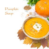 Pumpkin soup with coriander and cream, isolated Royalty Free Stock Photography