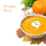 Pumpkin soup with coriander and cream, isolated on white Royalty Free Stock Photo