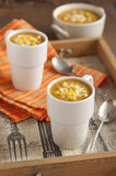 Pumpkin soup with corn Royalty Free Stock Photos