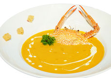 Pumpkin soup with crab Royalty Free Stock Image