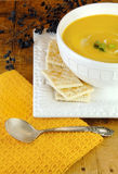 Pumpkin Soup with Crackers Stock Image