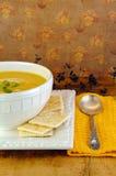 Pumpkin Soup with Crackers Stock Photos