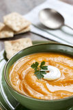 Pumpkin Soup with Crackers Royalty Free Stock Photos