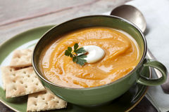 Pumpkin Soup with Crackers Stock Images
