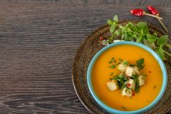 Homemade rustic pumpkin soup. Pumpkin soup with cream and parsley on dark wooden background Stock Photography