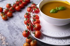 Pumpkin soup, cream soup with pumpkin seeds. stock photo