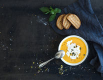 Pumpkin soup with cream, seeds, bread and fresh Stock Images