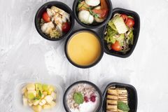 Pumpkin soup cream, steamed chicken and vegetables, ready meal for proper nutrition and balanced diet stock image