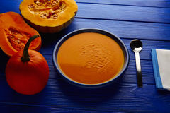 Pumpkin soup cream on wood Stock Photo