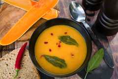 Pumpkin soup. Creamy pumpkin soup with sage and chilli Stock Photo