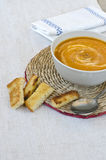 Pumpkin soup with croutons. Stock Image