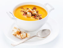 Pumpkin soup with croutons Stock Photos