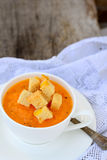 Pumpkin soup with croutons Stock Image