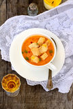 Pumpkin soup with croutons Royalty Free Stock Images