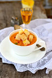 Pumpkin soup with croutons Royalty Free Stock Photos