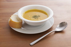 Pumpkin Soup. On a desk Stock Images